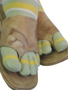 Lime Yellow White toe socks