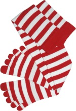 Knee High Red White toe socks