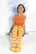 Over the Knee Yellow Orange toe socks!